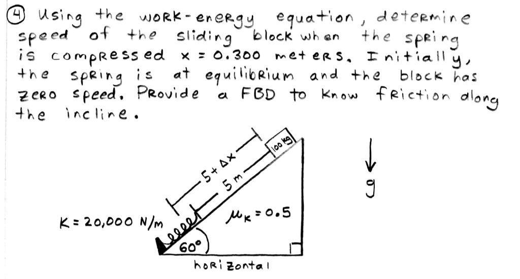 Solved: Snghe WoRk-eneRgy Equation, Detmine Speed ︶ot The