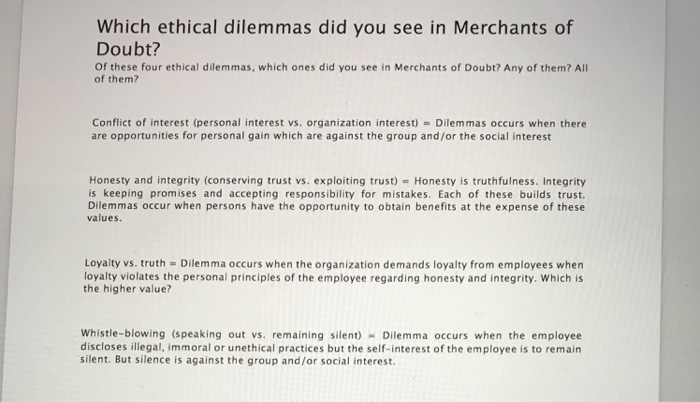 ethical dilemma in organizations