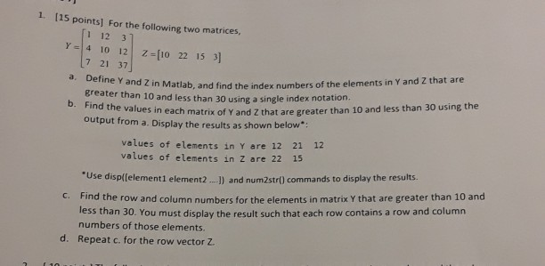 Solved: 1  115 Points] For The Following Two Matrices, 1 1