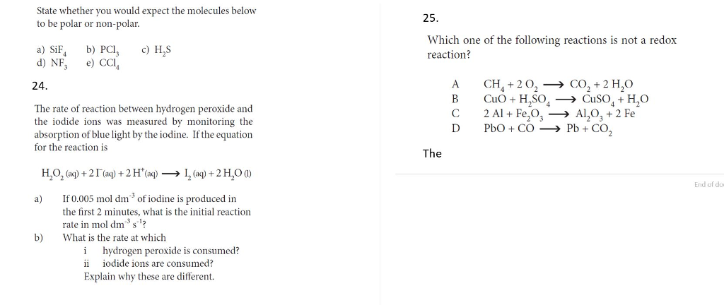 Solved State Whether You Would Expect The Molecules Below Chegg Com