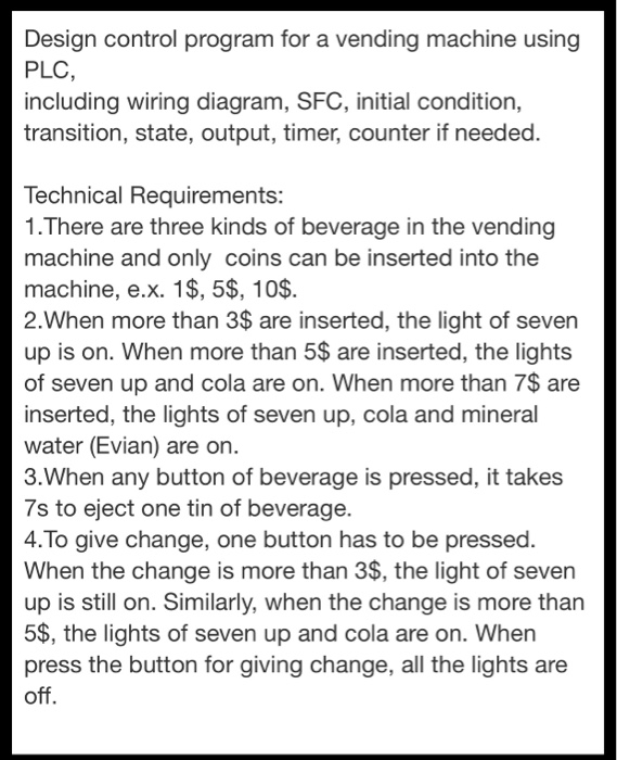 design control program for a vending machine using