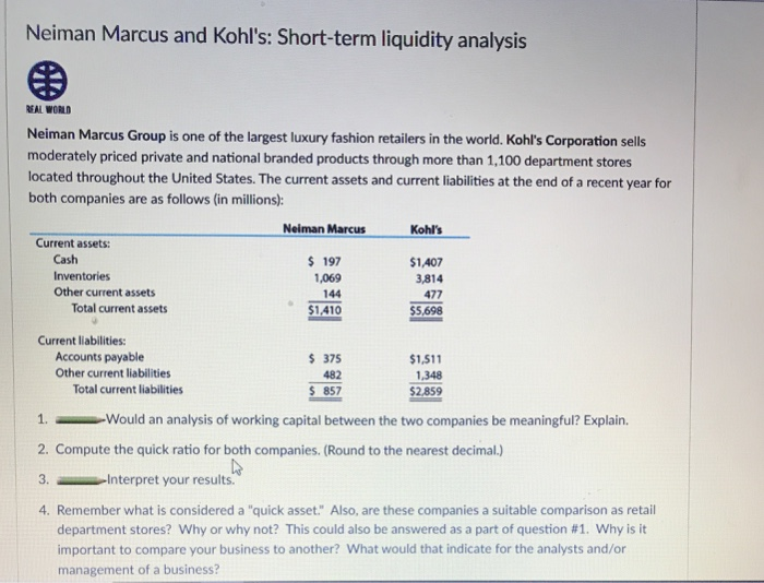 Solved: Neiman Marcus And Kohl's: Short-term Liquidity Ana