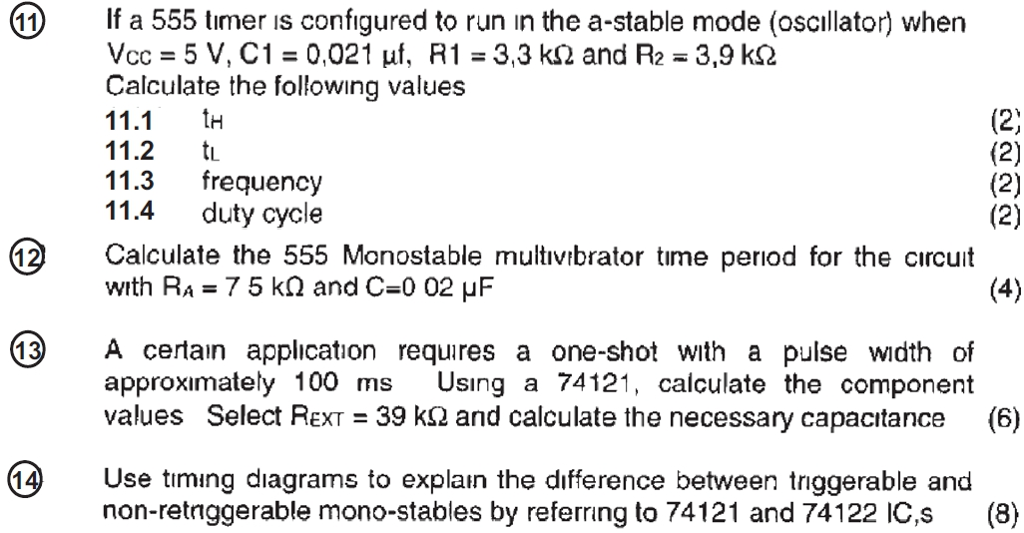 Solved: If A 555 Timer Is Configured To Run In The A-stabl