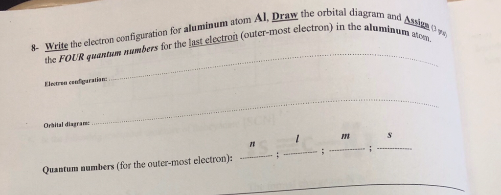 Solved Write The Electron Configuration For Aluminum Atom
