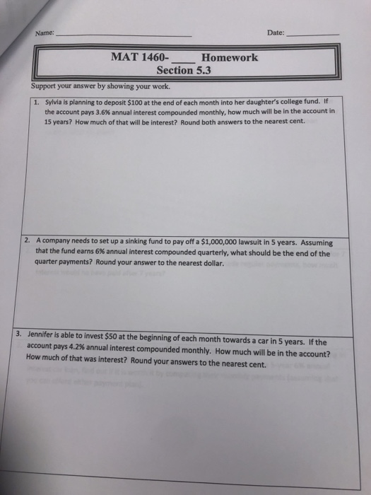 Solved: Name: Date: MAT 1460- Homework Section 5 3 Support