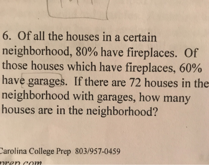 6. Of all the houses in a certain neighborhood, 80% have fireplaces. Of those houses which have fireplaces, 60% have garages. If there are 72 houses in the neighborhood with garages, how many houses are in the neighborhood? arolina College Prep 803/957-0459
