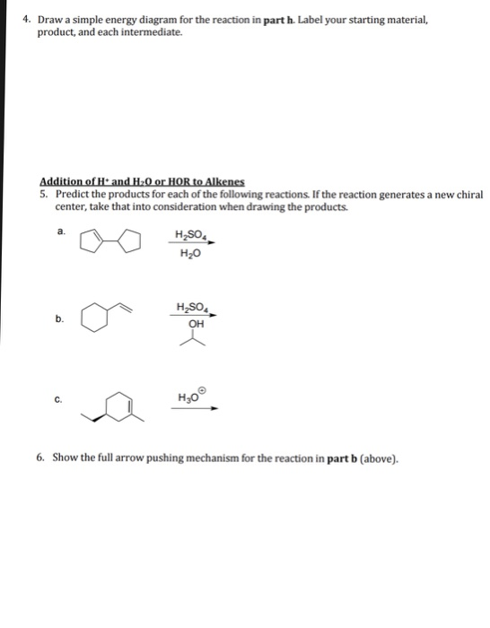 draw a simple energy diagram for the reaction in part h  label your