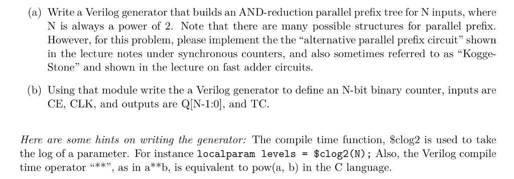a) Write A Verilog Generator That Builds An AND-r    | Chegg com