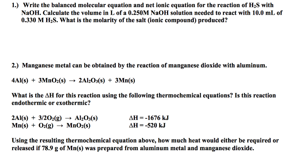 Solved: 1 ) Write The Balanced Molecular Equation And Net