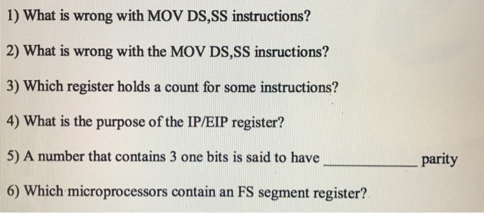Solved 1 What Is Wrong With Mov Dsss Instructions 2 W