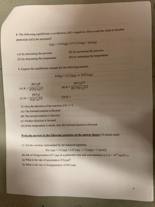 Solved: 8  The Following Equilibrium Is Exothermic (AH-neg