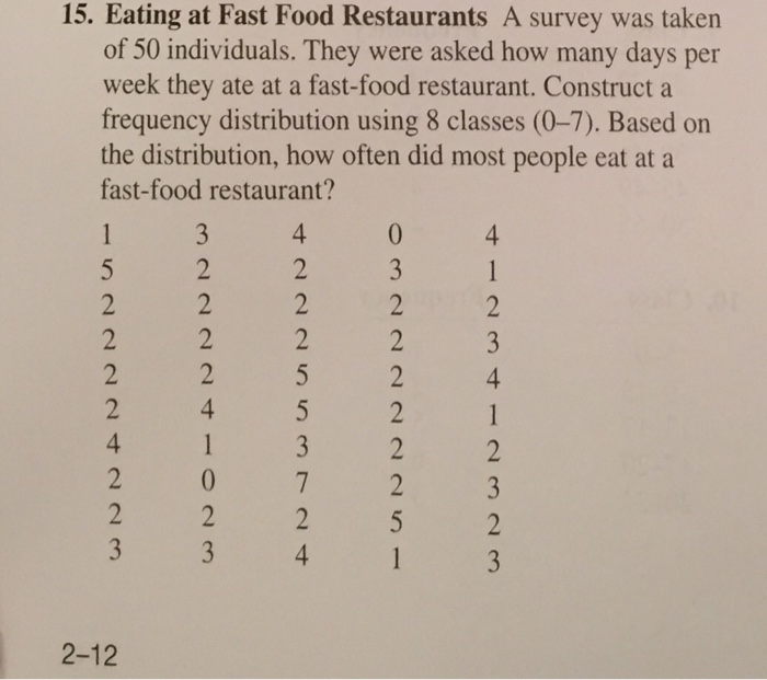 solved 15 eating at fast food restaurants a survey was t