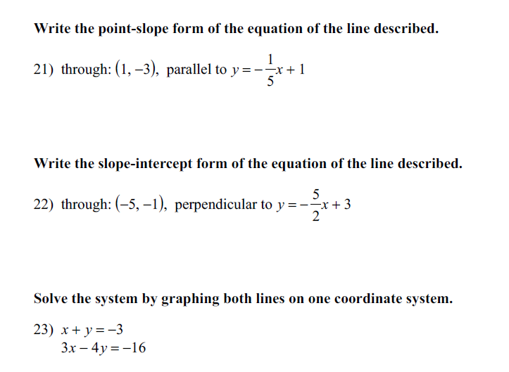 point slope form how to solve  Solved: Write The Point-slope Form Of The Equation Of The ...