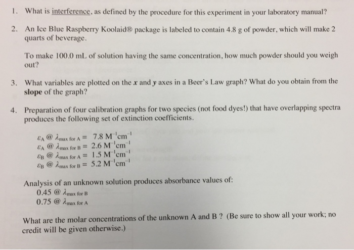 Solved: What Is Interference, As Defined By The Procedure