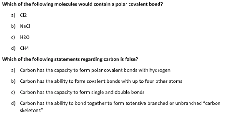 Solved Which Of The Following Molecules Would Contain A P Chegg Com