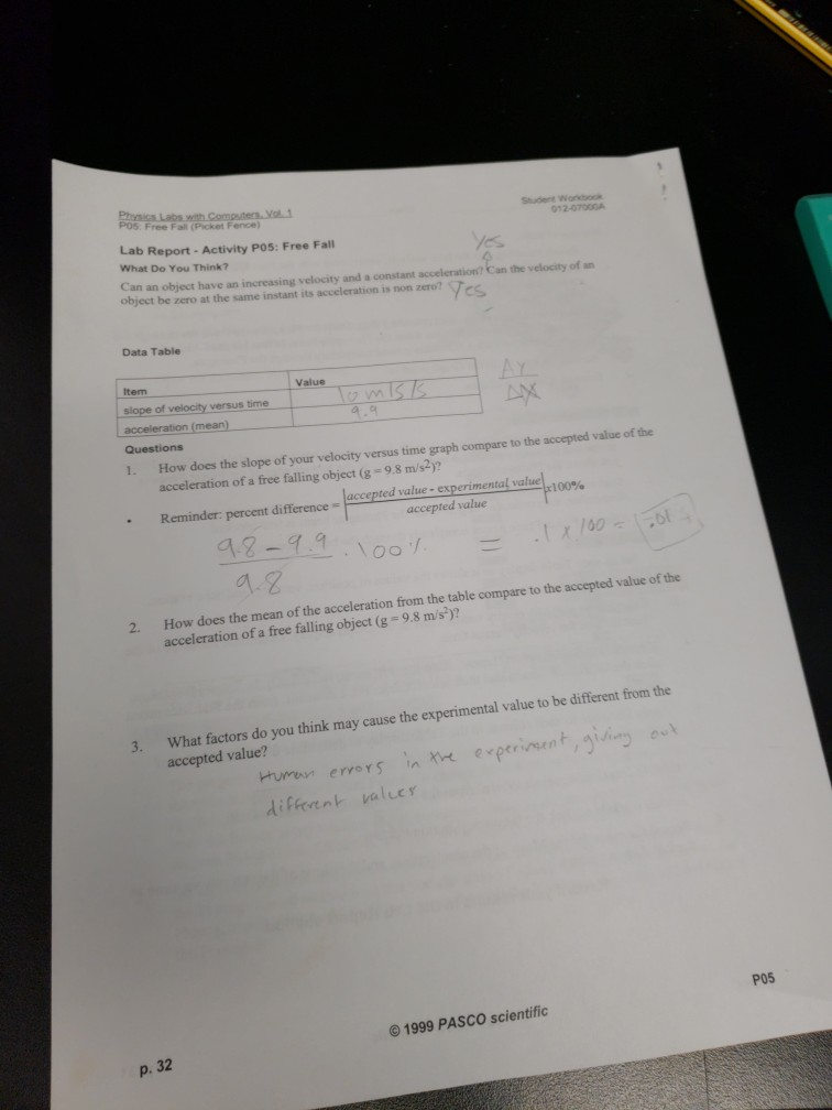 picket fence free fall lab report answers