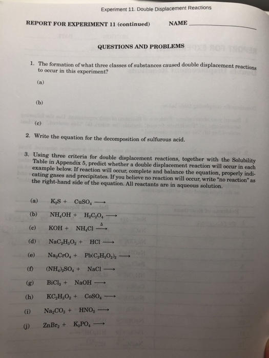 Solved: Experiment 11. Double Displacement Reactions REPOR ...