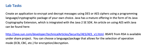 Solved: Lab Tasks Create An Application To Encrypt And Dec