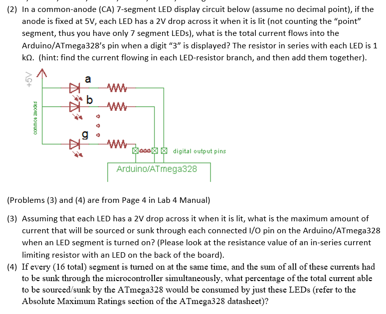 solved (2) in a common anode (ca) 7 segment led display c