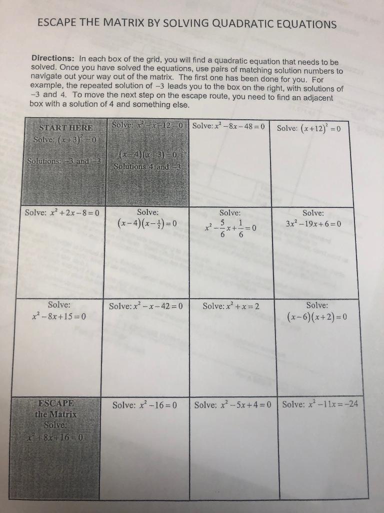 Solved Escape The Matrix By Solving Quadratic Equations D
