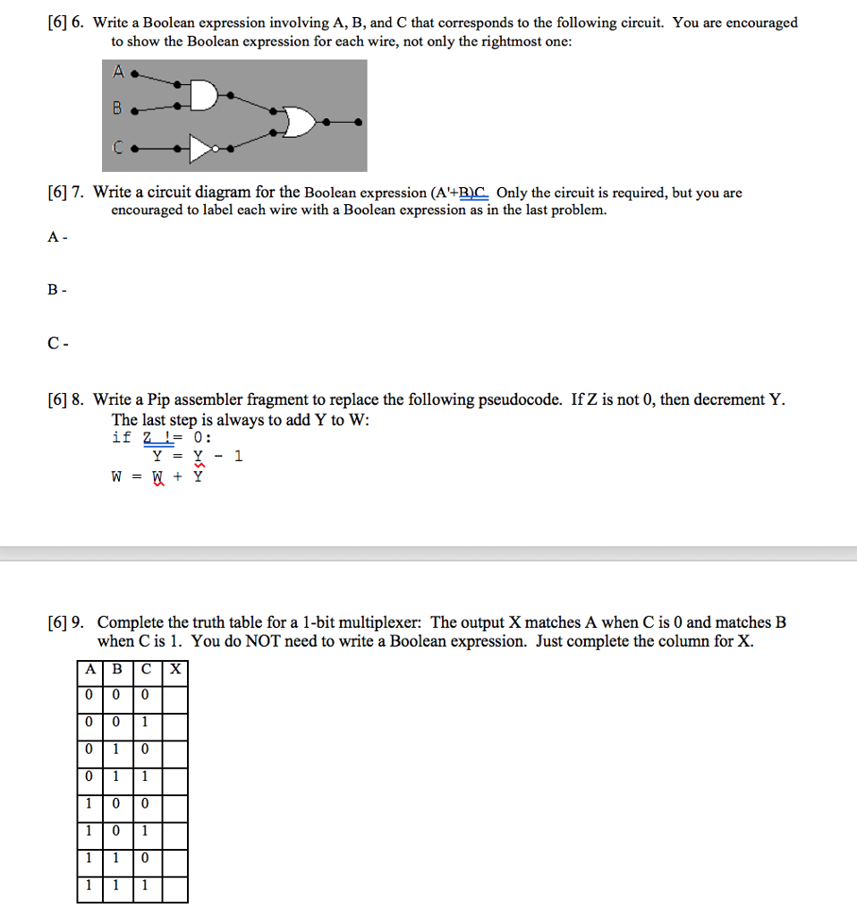 Solved: [6] 6. Write A Boolean Expression Involving A, B ... on