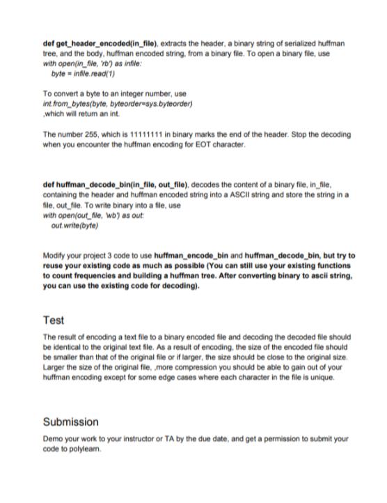 Huffman Encoding And Decoding In Binary | Python E    | Chegg com
