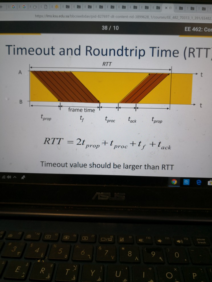 https:/Imsksu.edu.sa/bbcswebdav/pid-827697-dt-content-rid-3899628 1/courses/EE 482 70313 1 391/EE482 EE 462: Co 38 10 Timeout and Roundtrip Time (RTT RTT frame time prop RTT = 2t prop+ t proc+ t , t tk Timeout value should be larger than RTT t proc tack prop a c 5 0