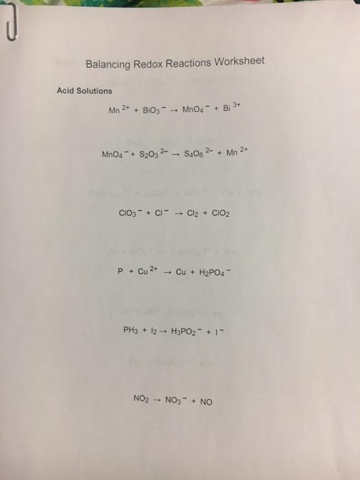 Solved: Balancing Redox Reactions Worksheet Acid Solutions ...