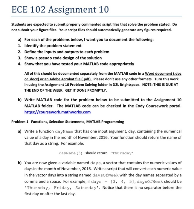 Solved: ECE 102 Assignment 10 Students Are Expected To Sub