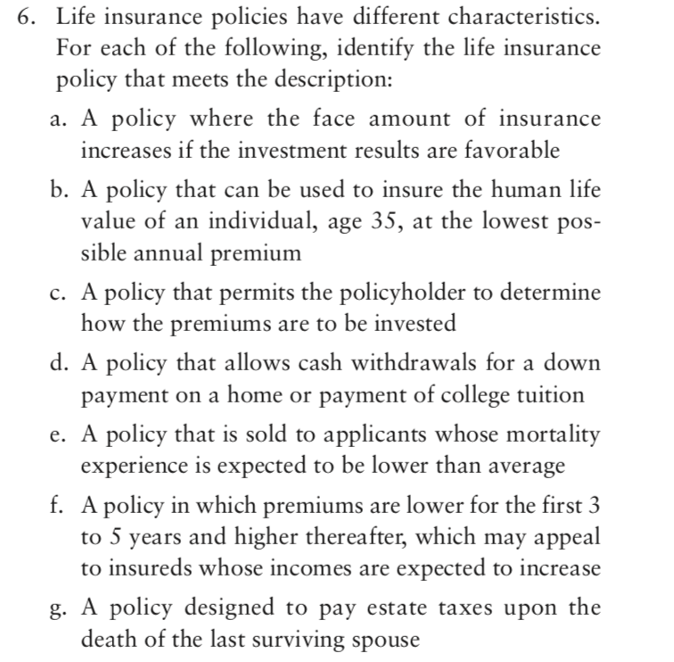 Solved: 6. Life Insurance Policies Have Different Characte ...