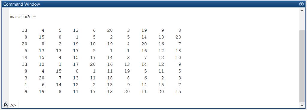Solved: MATLAB: Problem 4: Download The File MatrixA mat F
