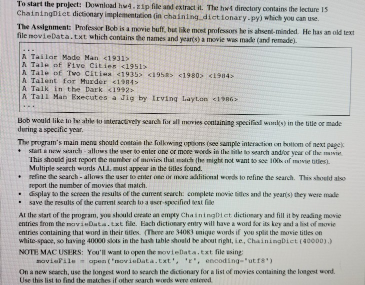 In Python Here Is The Code For The Chaining Dictio