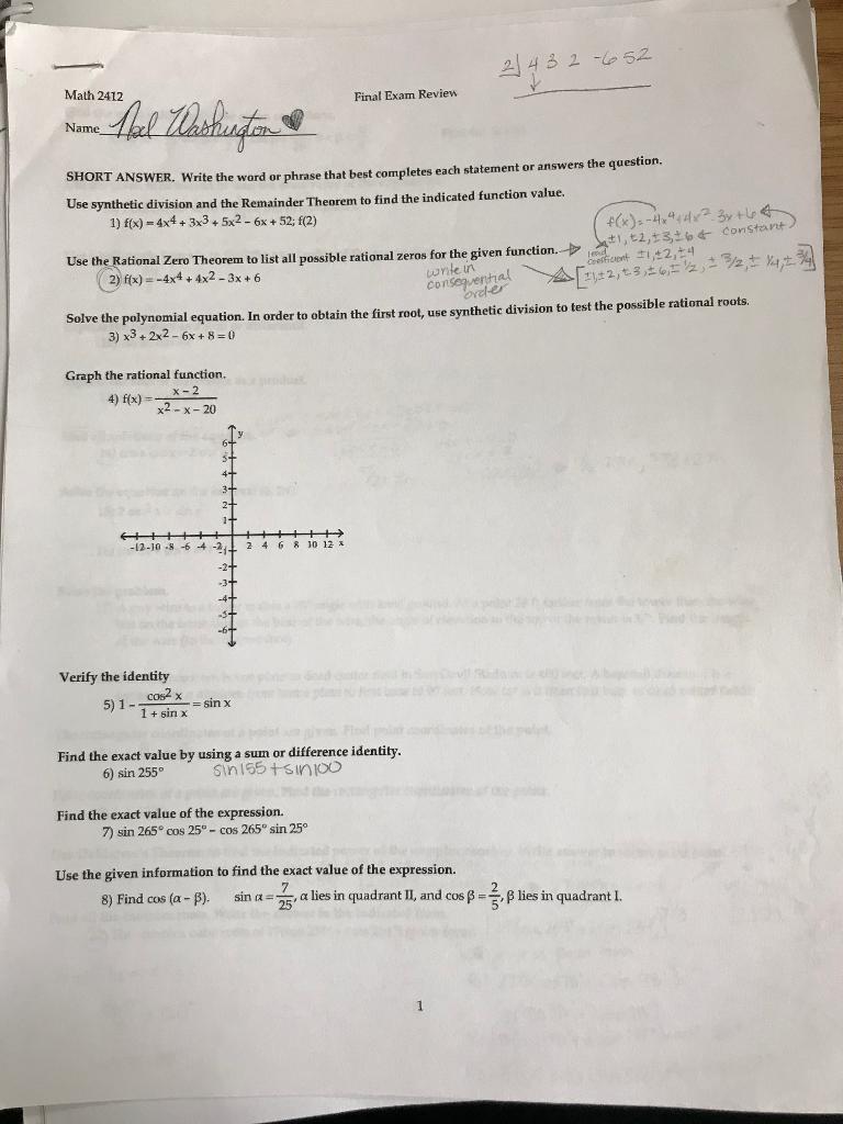 Solved: 2 42 E 52 Math 2412 Final Exam Review Name SHORT A