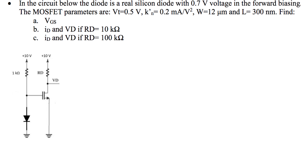 Solved In The Circuit Below The Diode Is A Real Silicon D