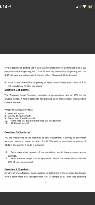 Solved: My Probability Of Getting Job A Is 0 40