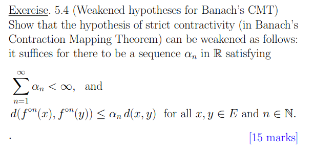 Solved: Banach's Contraction Mapping Theorem Definition Le ... on