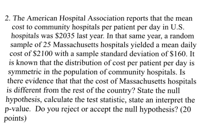 Solved: 2  The American Hospital Association Reports That