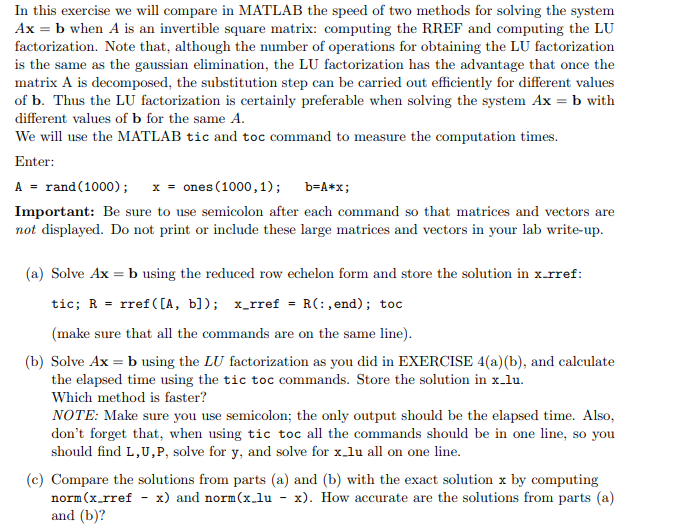 Solved: In This Exercise We Will Compare In MATLAB The Spe