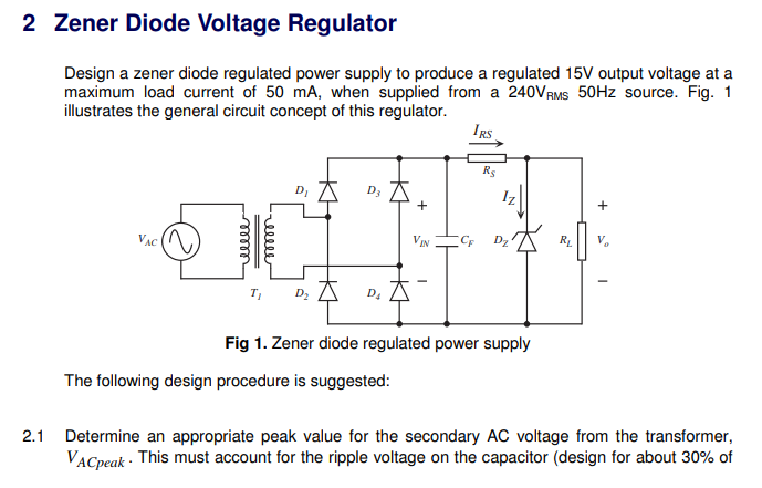 Solved: 2 Zener Diode Voltage Regulator Design A Zener Dio ... on