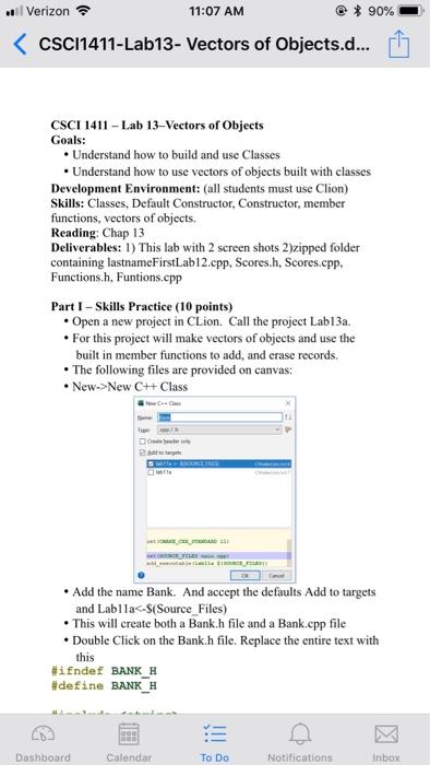 Solved: L Verizon 11:07 AM CSCI1411-Lab13- Vectors Of Obje
