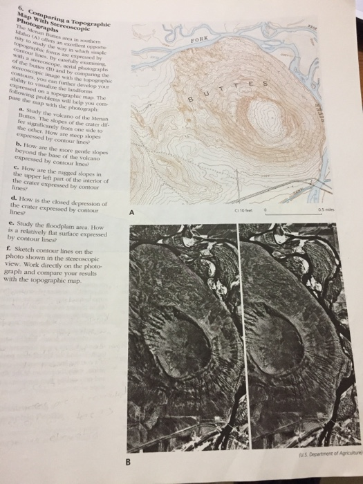 Volcano Topographic Map.Solved Comparing A Topographic Map With Stereoscopic Phot
