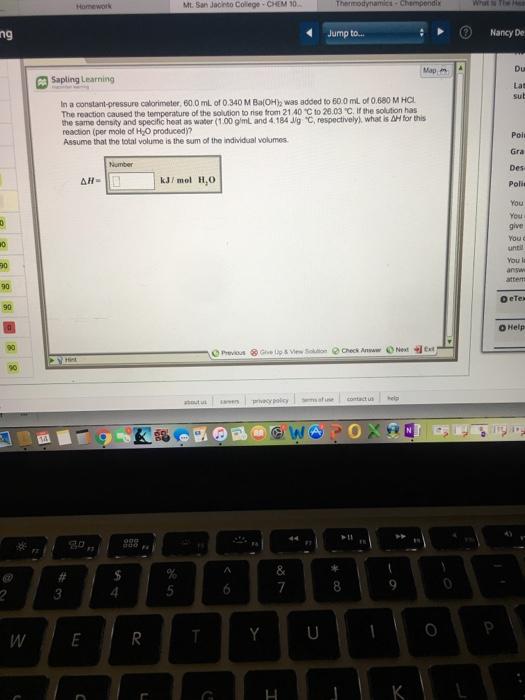 Solved Homework Mt San Jacinto College Chem 10 Thermody
