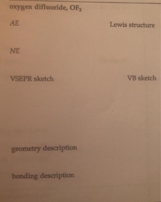 Solved: Oxygen Difluoride, OF2 AE Lewis Structure NE VSEPR ...