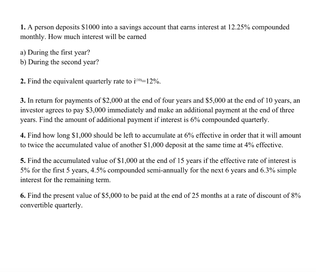 How Much Interest Will I Pay >> Solved I A Person Deposits 1000 Into A Savings Account