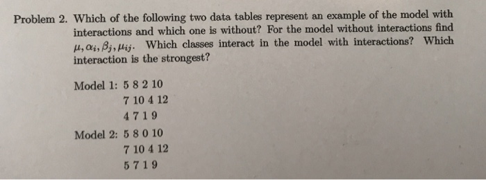 Problem 2  Which Of The Following Two Data Tables     | Chegg com