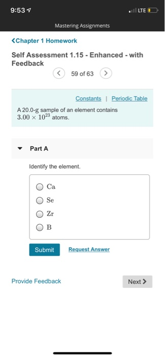 Solved 953 Lte Mastering Assignments Constants Periodic