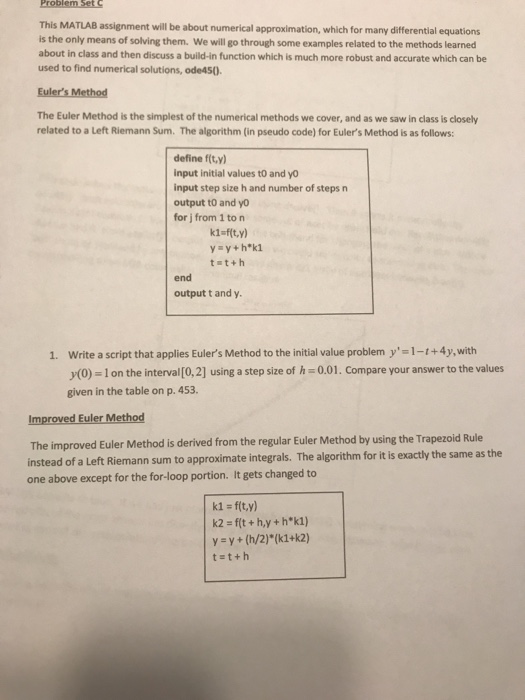 Solved: This MATLAB Assignment Will Be About Numerical App