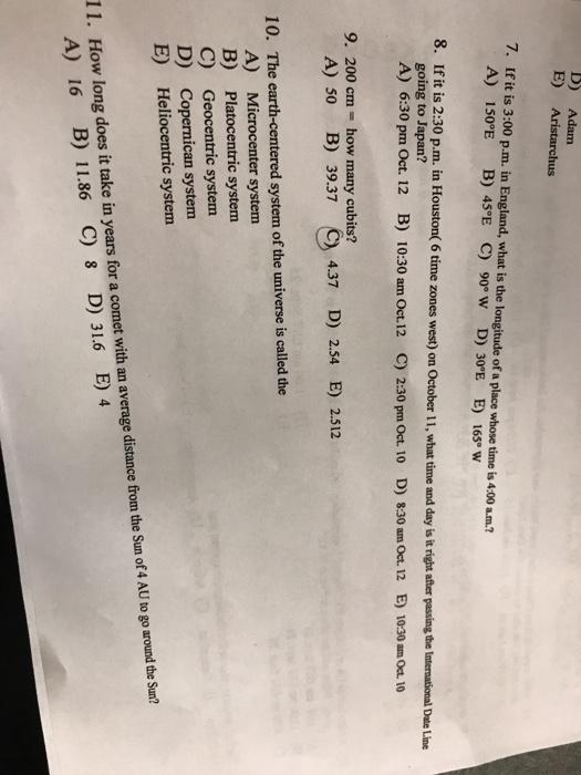 Solved: D) Adam E) Aristarchus 7  If It Is 3:00 P m  In En