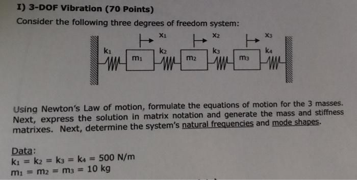 Solved: I) 3-DOF Vibration (70 Points) Consider The Follow