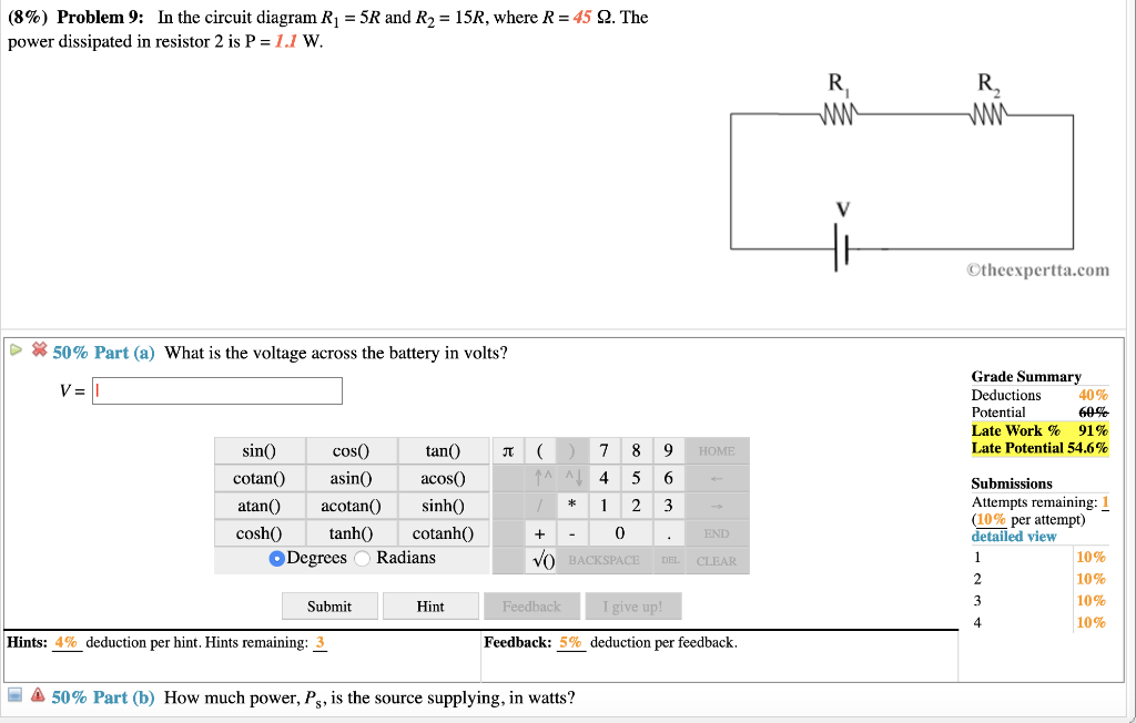 Solved 8 Problem 9 In The Circuit Diagram R 5r And R